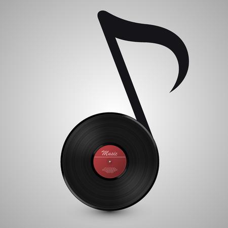 musica electronica: Abstracto de la música. Disco de vinilo en forma de notas. Ilustración vectorial