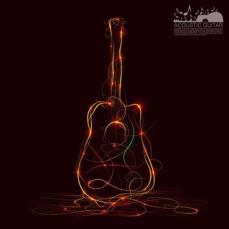 acoustical: Silhouette of guitar fire art. Vector illustration Illustration