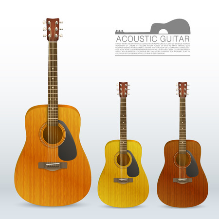 acoustical: Set of acoustic guitars art. Vector illustration Illustration