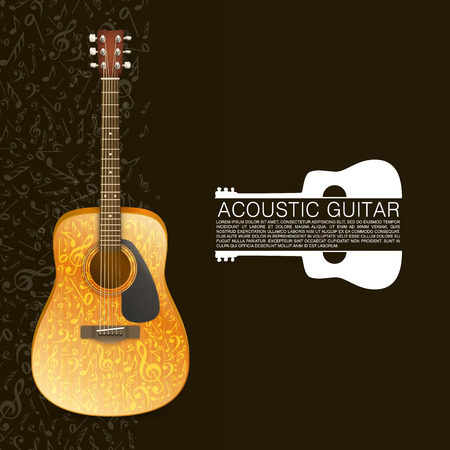 acoustical: Music concept. Acoustic guitar standing under beam of light. Vector illustration