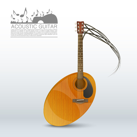 acoustical: Acoustic guitar in the form of notes. Vector illustration