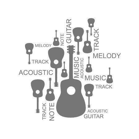recital: Collage of guitarsv and text. Vector illustration