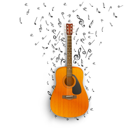 recital: Notes off of the guitar. Vector illustration