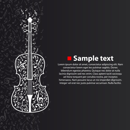 Violin with notes art creative. Vector illustration