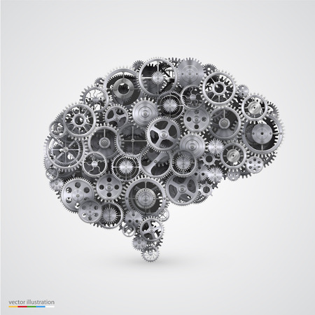 Cogs in the shape of a human brain. Vector illustration. 矢量图像