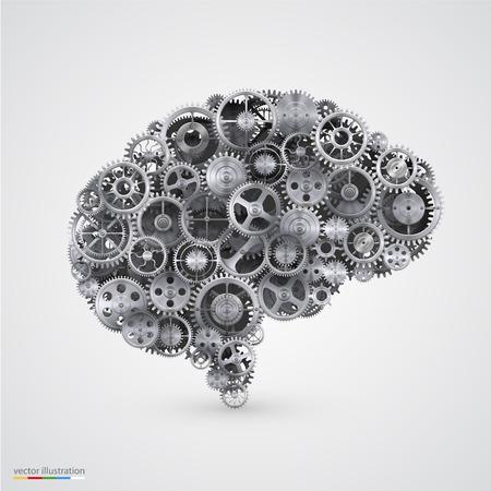 Denti a forma di un cervello umano. Illustrazione vettoriale.