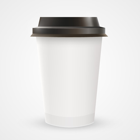 Close up of blank paper coffee cup. Vector illustration Vector