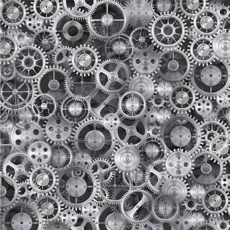 Metal realistic cogwheel background. Clean vector illustration Illustration
