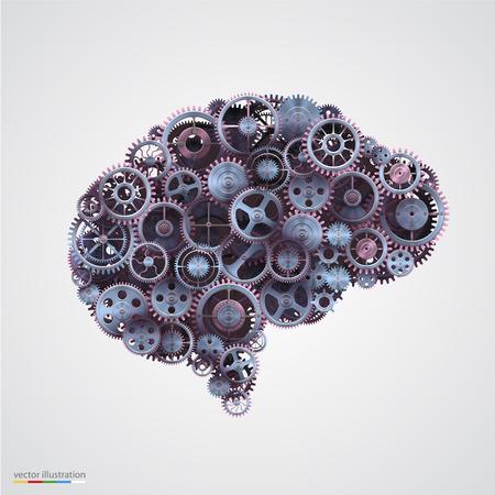 人間の脳の形の歯車。ベクトル イラスト。  イラスト・ベクター素材