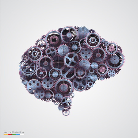 Cogs in the shape of a human brain. Vector illustration. Çizim