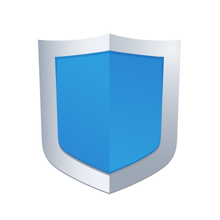Protection concept. Vector illustration of blue glossy shield Illustration
