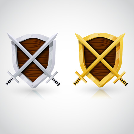 sward: Wooden shield with swords. Clear vector illustration