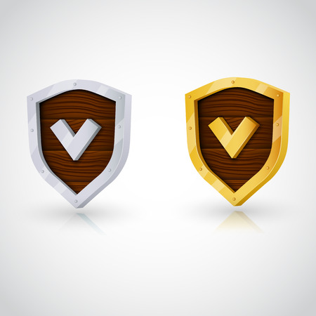 Accept wooden shield with gold and steel. Clear vector illustration Vector