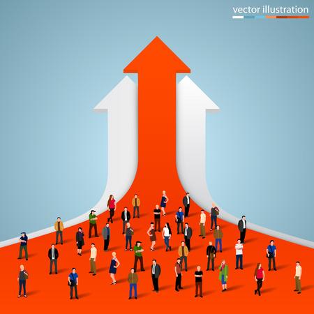 Menschen drängen sich auf dem Graphen. Vektor-Illustration