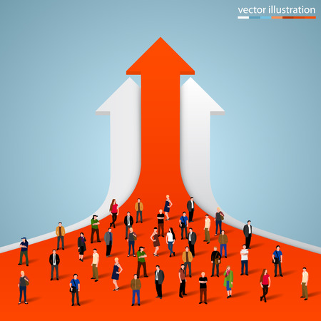 grow: People crowd on the graph. Vector illustration