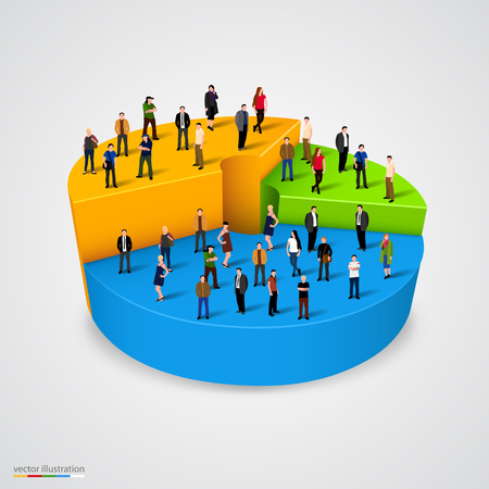 Many people standing on pie chart conceptual vector design Vettoriali