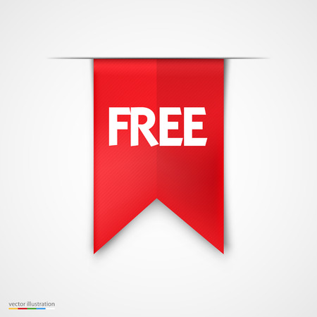 Free Product Red Label Icon Vector Design. Bright background Ilustracja
