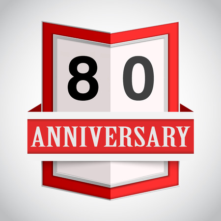 80 years: Anniversary modern colorful abstract background. Vector illustration