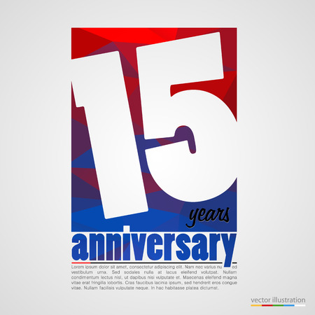 15: Anniversary modern colorful abstract background. Vector illustration