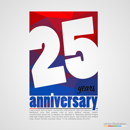 25: Anniversary modern colorful abstract background. Vector illustration