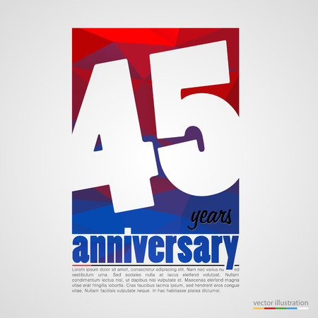 age 40 45 years: Anniversary modern colorful abstract background. Vector illustration