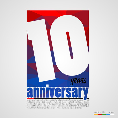 10: Anniversary modern colorful abstract background. Vector illustration