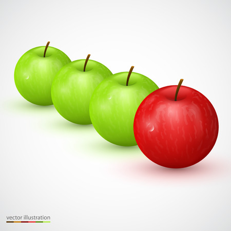 masses: Row of green apple with red main one. Vector illustration
