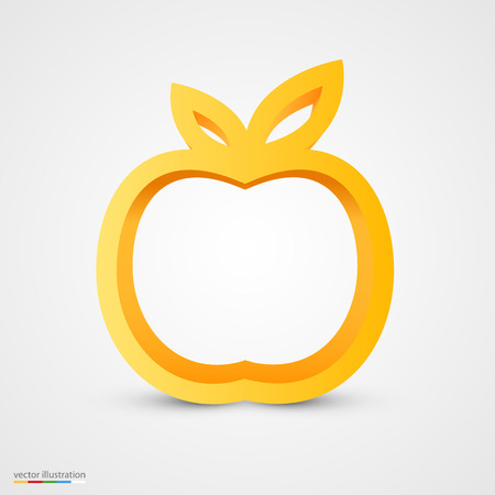 golden apple: Gold apple icon, ecology and bio food concept Illustration