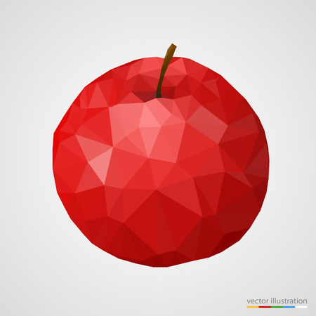 Abstract red polygonal apple on white background. Vector illustration. Vector