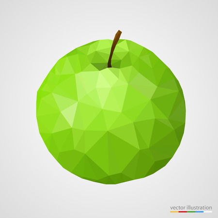 Abstract green polygonal apple on white background. Vector illustration. Vector