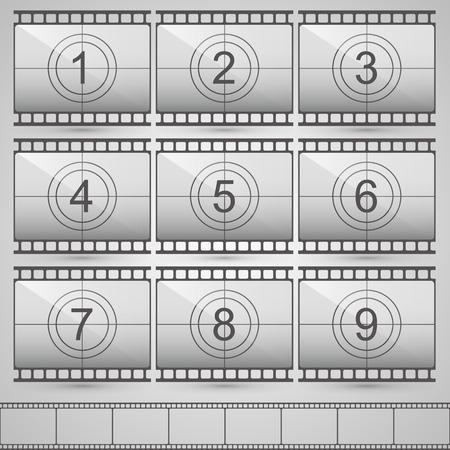 countdown: Film countdown numbers art set. Vector Illustration Illustration