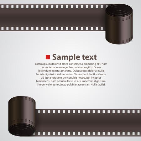 Macchina fotografica: Film Strip arte sfondo banner. Illustrazione vettoriale