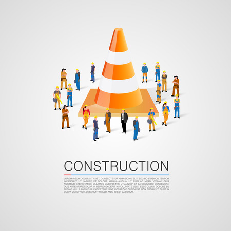 People crowd with traffic cone. Vector illustration Vector