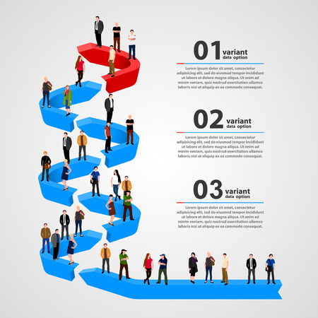 Business people standing in line. Vector illustration
