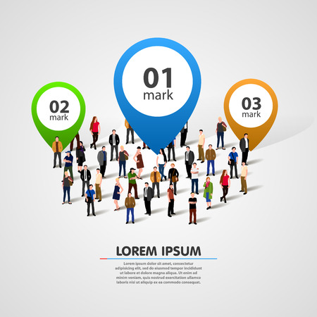 People crowd with option numbers. Vector illustration Illustration