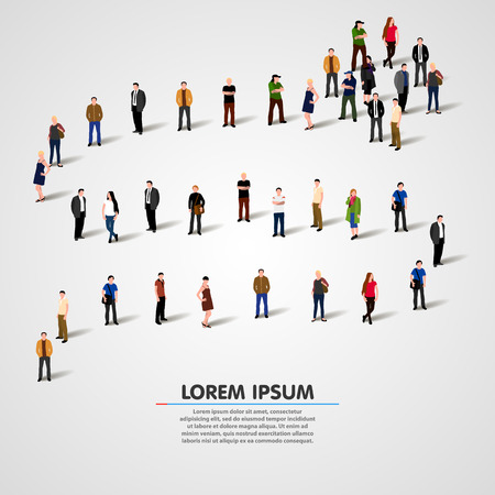 Business people standing in a line. Vector illustration Stock Illustratie