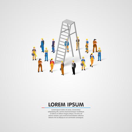 Arbeider groep met ladder kunst. Vector illustratie