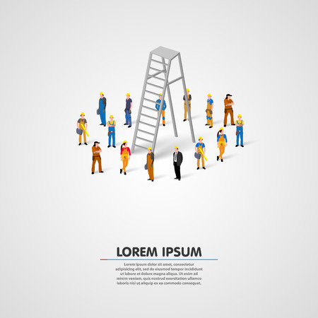 Worker group with ladder art. Vector illustration Illustration