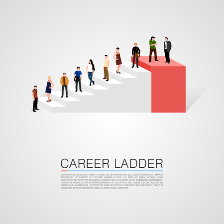 success concept: Career ladder with people conceptual. Vector illustration.