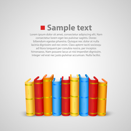 bookbinding: Stack of books art color object. Vector illustration