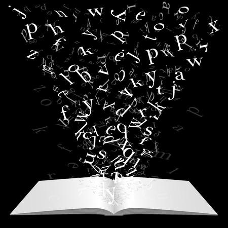 Boek met vliegende letters art. Vector illustratie