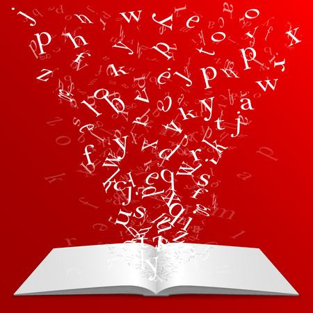 10eps: Book with flying letters art. Vector illustration