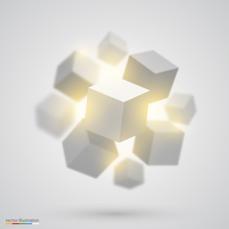 Many cubes art object set. Vector illustration
