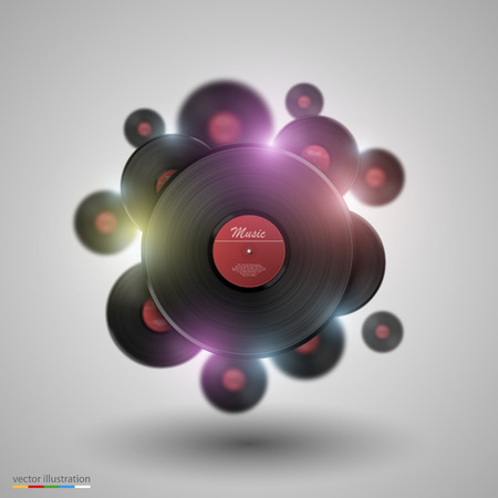 Many vinyl disk art object set. Vector illustration