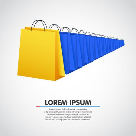 in a row: Shopping bag row. Sale concept. Vector illustration
