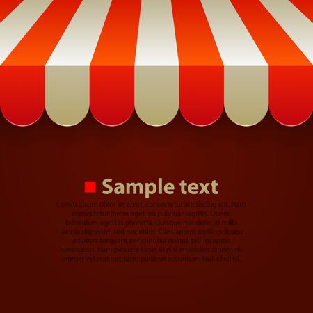 abarrotes: Tienda de rayas toldos de colores de fondo. Ilustraci�n vectorial