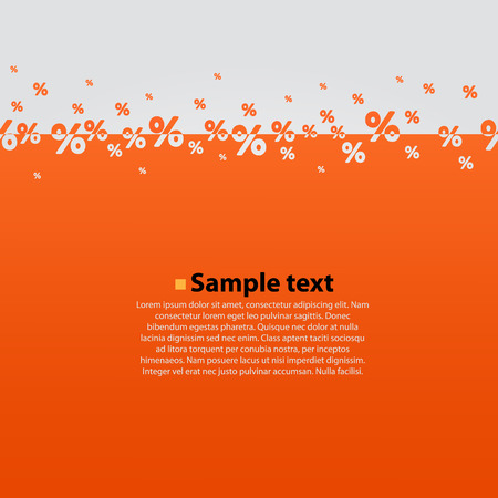 Creative abstract orange percent background. Vector illustration.