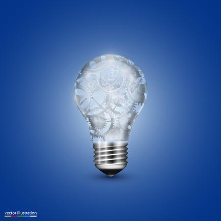 10eps: Vector light bulb with a mechanism. Illustration art 10eps