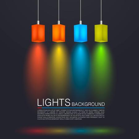 power point: Square paper lamps art banner. Vector illustration