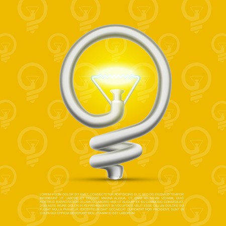 metal light bulb icon: Creative lamp made of helix. Vector illustration
